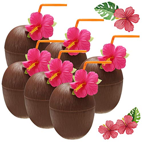 PANGUN 6Pcs Hawaiian Luau Hula Tropical en Plastique Partie Noix De Coco Tasse Boisson & Paille Décoration Paille À Boire