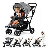 CCJW Cochecito Stand And Ride para dos niños Cochecito de niño en tándem, Cochecito plegable de los gemelos Cochecito Mutiple de madre y niños, Cochecitos para bebés, Cochecito para niños, Cochecito p
