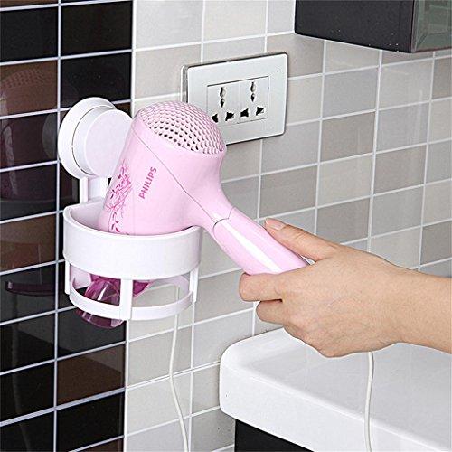 MENA Home/Sucker Storage Rack Wand Haartrockner Rack Umwelt Kunststoff Material Badezimmer Regal hängen (15 * 12.5 * 10.8cm) (Hängen Haartrockner)