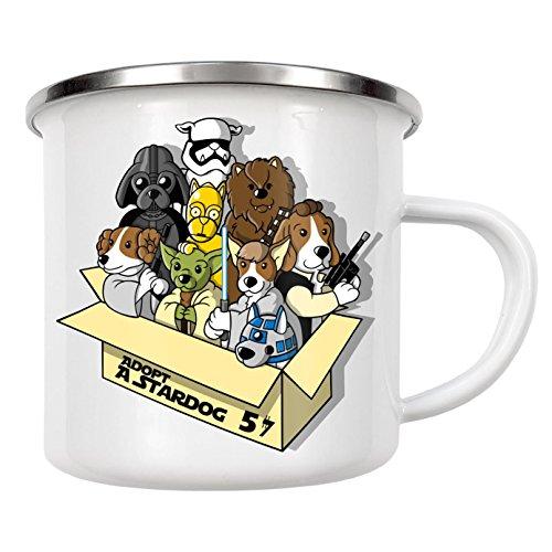 """artboxONE Emaille Tasse """"Adopt a stardog"""" von NemiMakeit - Emaille Becher Comic"""
