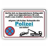 PARKVERBOT POLIZEI RUFEN - Parken verboten Schild / PV-018 (30x20cm Schild)