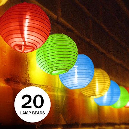 Solar Lichterkette, Ubegood bunt Lampion 20 LED Laterne Wasserdichte Gartenbeleuchtung Lichterkette Lampion Laternen Deko für Garten, Weihnachten, Party, Hochzeit, Innen und Außen mit dem Stecker