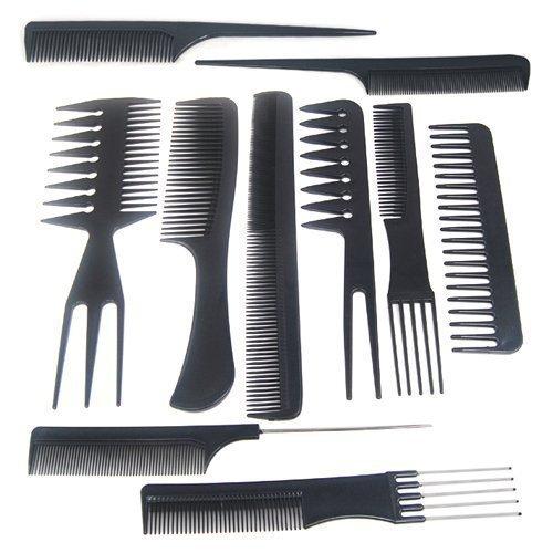 Accessotech 10 Piezas Salon Peinado Peluquería Peluquería Peluquería Plástico Peines Set