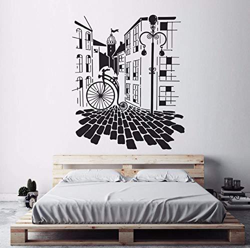 Raumdekoration Wohnkultur Wohnzimmer Alte Fahrrad Stadt Wandaufkleber Wandbild Aufkleber Kunst 42X50 Cm ()