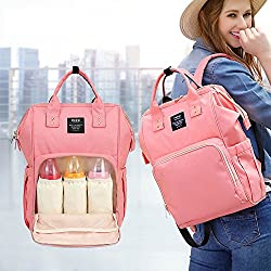 Nappy Backpack,hene Diaper Bag Rucksack,baby Nappy Changing Bag Waterproof Changing Mat,stroller Hook,insulated Pockets, Fashion Mum Dad Backpack