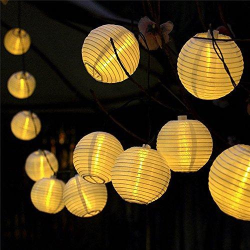 ATPWONZ Solar Outdoor Lichterkette 6.35 Meter 30 LEDs Lampions Laterne Solarbetrieben Lichterkette Wasserfest Weihnachten Dekoration für Garten, Terrasse, Hof, Haus, Weihnachtsbaum, Feiern - Warmweiß (Solar Outdoor-beleuchtung)