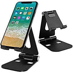 G-Color Support Téléphone Portable, Multi-Angles Réglable en Alliage d'Aluminium, Pliable et Facile à Porter Portable Support Dock pour Smartphone et Nintendo Switch, etc. - Noir