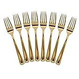 Set 8 pz Forchette Plastica ORO Eleganti e Robuste - Tavola Posate Gold Dorate Anniversairio Dim. 18.5x 1.5 cm