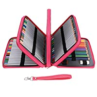 BTSKY PU Leather 200 Inserting Super Large Capacity Multi-Layer Students Colored Pencil Wrap Storage Case Bag Pouch Holder Stationery Organizer, Pink(no Pencils)