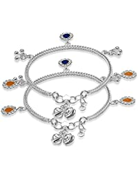 Taraash Sterling Silver Traditional Charm Anklets For New Born Baby Girls AN1021S