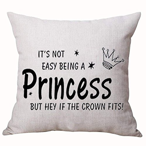 Best Gift Nordic Funny Sweet Inspirational Sayings It's Not Easy Being a Princess But Hey If The Crown Fits Cotton Linen Decorative Home Office Throw Pillow Case Cushion Cover Square 18X18 Inches (Heys Crown)