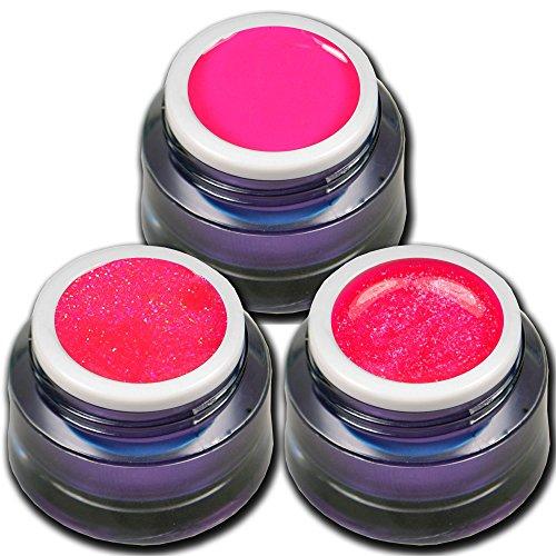 RM Beautynails Premium UV Gel Set Neon Pink Stars je 5ml ein Glitter Gel Glitzerqueen - Glitter Gel Neon - Neon Gel Shock Nageldesign Nailart -