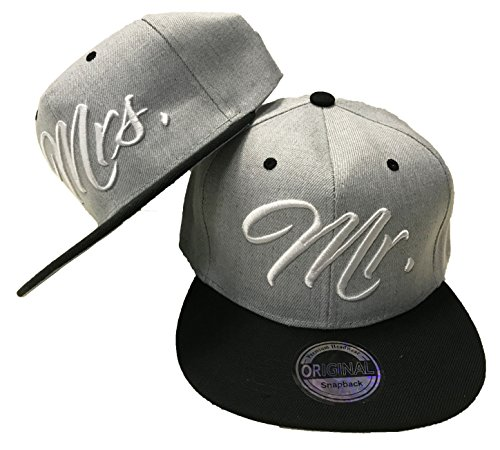 Mr. & Mrs. SNAPBACK SET USA CAP KAPPE BASECAP MÜTZE TRUCKER CAPPY KULT NEU (Mr. Mrs. Set Grau) (Mode Snapback Für Herren)