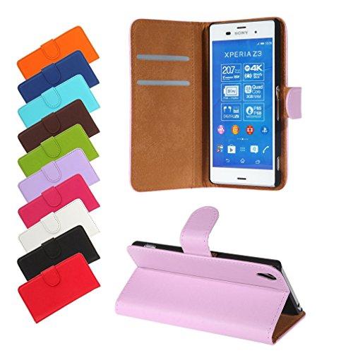 BRALEXX Sony Xperia Z3 (D6603/D6653) Bookstyle-Tasche Hülle Case Schutz FLIEDER (zum Aufstellen, 2x Kartenfach, 1x Geldfach, Silikon-Rundumschutz-Innenschale) (Sony Xperia Z2 White Fall)