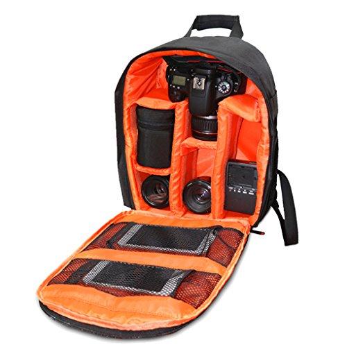 QHGstore Caso zaino multifunzionale sacchetto impermeabile DSLR per Nikon Canon nero + arancio