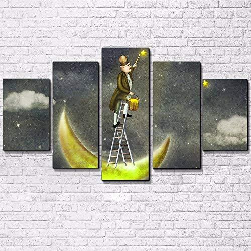 Leiter Gerahmt (ZYJCC 5 Leinwandbilder Mit Rahmen Hd Drucke Wandkunst Bilder Wohnzimmer Dekor Stehen Auf Einer Leiter Um Die Sterne Zu Erreichen Malerei Leinwand Abstrakte Poster)