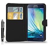 Samsung Galaxy A3 (Not For 2016) - pochette de cuir Etui portefeuille pochette couvercle escamotable + tactile Stylet + écran protecteur & chiffon de polissage ( noir )