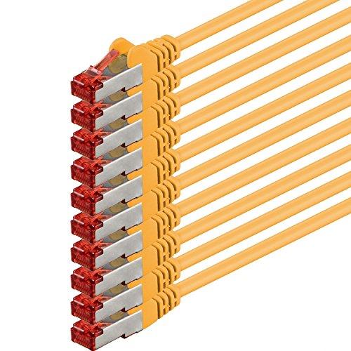 1aTTack CAT6PIMF SSTP Netzwerk Patch-Kabel mit 2x RJ45Stecker doppelt geschirmt gelb - 10 Stück 1,0 Meter (Stp-kabel Gelb)