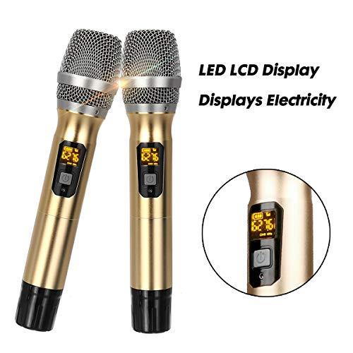 JASZW 2Pcs Handheld UHF Wireless Mikrofon System LED LCD Display Mic mit Mini tragbaren Empfänger