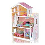 Baby Vivo Puppenhaus Violetta aus Holz mit Zubehör