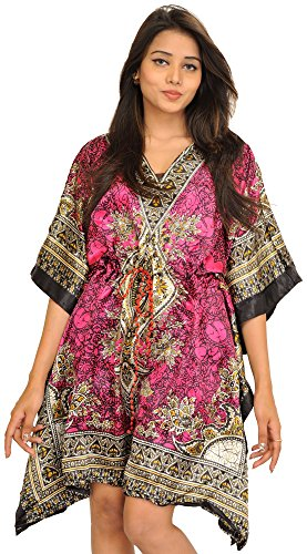 Exotic India Short Boho Kaftan with Floral Print and Dori on Waist...