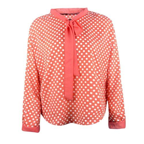 Esailq Femme Manches Longues V-Neck Mousseline de Soie Bowknot Dots Blouse Tops Orange