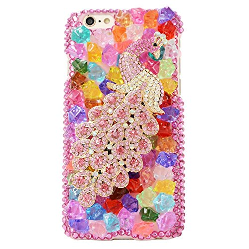 Spritech (TM 3D Handgefertigt Frau Fashion Girl Bling Rosa Kristall Pfau Dceor Fall Luxus Bunte Candy Design Clear Hard Caver Fall, Style-7, iPod Touch 5 (Ipod Fällen Touch Bling 5)