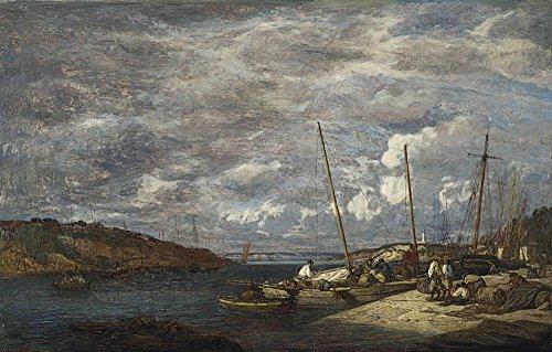 Das Museum Outlet-Douarnenez, Fishing Boats Near The Beach, 1855, gespannte Leinwand Galerie verpackt. 40,6x 50,8cm