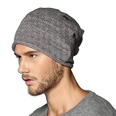 Kenmont-Winter-Männer Knit 100% Baumwolle Ski Beanie Hat Cap-Schlapphut (Dunkelgrau) (Earflap Knit Cap)