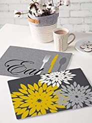 Brick Home Quirky Quotes and Utensils, Floral Digital Printed Table Mat (Set of 2) (Grey and Black)