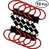 OUNONA 10 PCS ATC/ATO 10 Gauge 30 AMP Portafusibile medio in linea con cavo da 30 cm per camion per auto Fusibili piatti Parti per auto (Fusibile non incluso)
