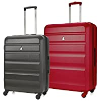 Aerolite ABS Hard Shell Plastic 4 Wheel Spinner Travel Check In Hold Trolley Luggage Suitcase 2 Piece Set, Medium 25