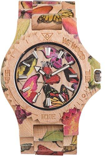 Orologio unisex in legno Wewood DATE PRINT BUTTERFLY BEIGE