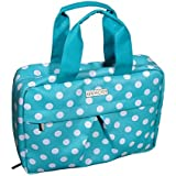 Audacity Hanging Turquoise Blue and White Polka Dot Cosmetic Travel Toiletry Wash Bag for women and girls