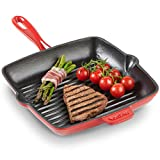 VonShef 26cm Cast Iron Square Griddle Pan - Suitable For All Hob Types Including Induction