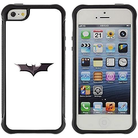 ZAKO Cases / Apple Iphone 5 / 5S / Minimalist Batman Sign / Robusto Prueba de choques Caso Billetera cubierta Shell Armor Funda Case Cover Slim Armor