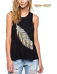 BYD Mujeres Camisetas sin Mangas T shirt Plumas Impresión Floral Blouses Blusas Camisas Tops Verano