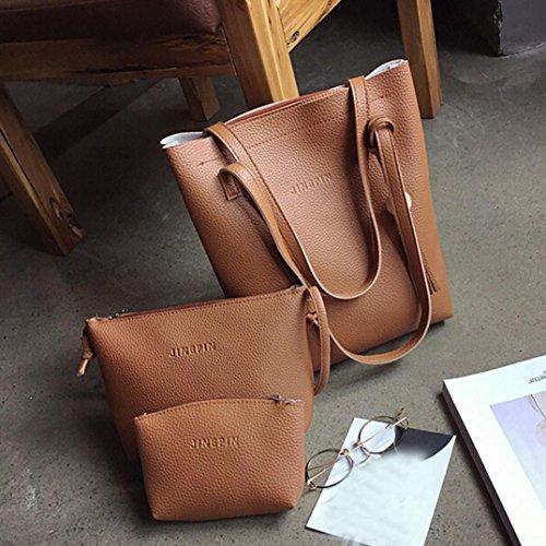 Borse Donna , feiXIANG 2017 Moda donna nappa borsa in pelle borsa a tracolla + crossbody bag + pochette Wallet (rosso) marrone