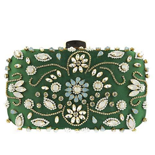 Deloito Damen Elegante Umhaengetasche Haspe Blume Kristall Perlen Clutch Tasche Frauen Luxus Freizeit Abendtasche Party Handtasche (Grün) -