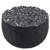 Teelichthalter Perlen Design Metall Deko Windlicht (9x13x13cm, Schwarz-Silber)