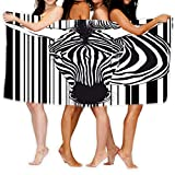 "Beach Towel Large Beach Towel, Soft 31""x51"" Towel Zebra Barcode Face Neck Muzzle as Front Isolated White"