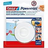 tesa Powerstrips - Pack de gancho a techo, color blanco + 2 tiras grandes
