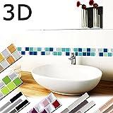 Wandaro 7erPack 25,3 x 3,7 cm Fliesenaufkleber blau türkis Silber Design 1 I 3D Mosaik Fliesendekor große Auswahl für Küche Bad selbstklebend Folie W3366