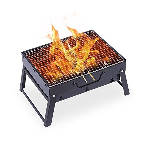 Uten barbecue portatile, barbecue a carbonella da tavolo da campeggio per cuocere carne pesce verdure pane bruschettato ecc - nero