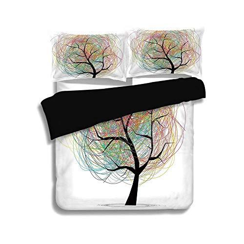 Schwarzer Bettbezug Set, Baum des Lebens, bunte wirbelnde Kritzeleien Baum mit Zweigen Funky zeitgenössische Illustration Dekorativ, Pastellweiß, Dekorativ 3-teiliges Bettwäscheset von 2 Pillow Shams -