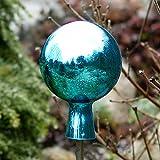 Gartenkugel, Rosenkugel, Dekokugel 'MIRROR-8' türkis, Ø 8 cm, mundgeblasen und handgeformtes Glas Unikat (ART GLASS powered by CRISTALICA)