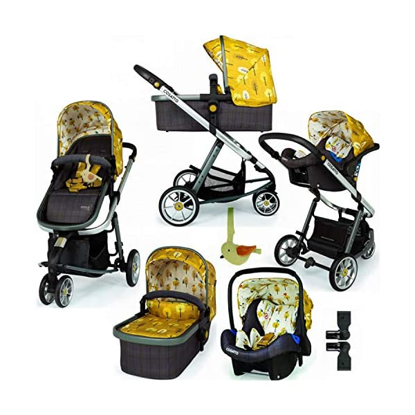 Cosatto Giggle 3 Travel System in Spot The Birdie with Car Seat adaptors & Raincover Cosatto Easily transforms to be used with carrycot, pushchair seat and matching Cosatto group 0+ car seat (included). Compact, easy fold. Lightweight aluminium chassis. All-round suspension for a smooth ride. Quick-release removable premium wheels. 1