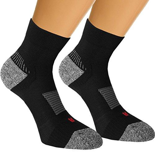 Vitasox 42831 Damen Herren Sport Socken Funktionssocken Sportsocken gepolsterte Zehen- und Fersenbereich ohne Naht 3er Pack schwarz 43/46