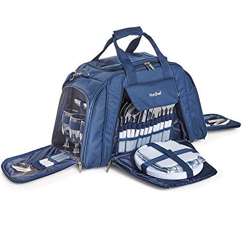 VonShef Blaue Picknick-Tasche für 6 Personen mit Kühlfach, Geschirr, Besteck & Gläsern