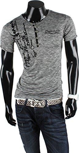 TAZZIO Herren T-Shirt Poloshirt Polohemd Slim Fit Pullover Kurzarm Anthrazit